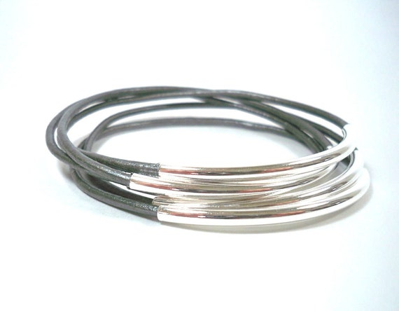Metallic Grey and Silver-Plated Bead - Set of 5 - Leather Bangle Bracelets ... by  B A L O O S