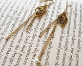 Time - leaf and water drop earrings -