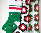 Vintage Granny Square Christmas Stockings Red White Green Crochet Set of 3