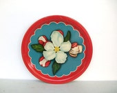 Vintage Red and Turquoise Floral Tin Serving Tray