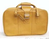 Vintage Yellow Luggage Overnight  Suitcase