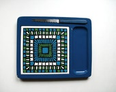 Vintage Blue Cutting Board Danish Modern Tile Serving Tray and Knife