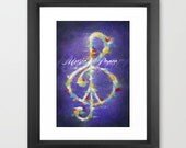 Music and Peace, Art, Print, Framed, Music, Peace Sign, Treble Clef, Purple, Violet, White, Red, Yellow, Blue, Under 50, FREE SHIPPING