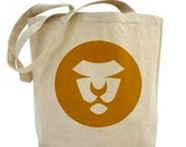 Lions, Tote Bag, SALE, Earth Day, Art, Circles, Mustard, Gold, Yellow, Eco, Animals, Children, Shopping, Art on Both Sides, FREE SHIPPING