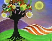 Twilight Moon Tree, Fall, Owls, Purple, Orange, Yellow, Green, Fields, Landscape, Stripes, Colorful, Home Decor, Autumn, Halloween