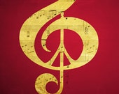 Red Gold Music Print Music and Peace Sheet Music Artist Signed Music Notes Treble Clef Red Black Gold Ready to Frame Disco Dance Home Decor
