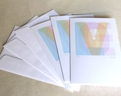 Love Greeting Cards, Set of 3, Hearts, Blank, Pastels, Rainbow, Pink, Blue, Yellow, Green, Wedding, Showers, Birth, Baby, Romance