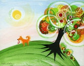 Happy Dog Print, 8 x 10, Dogs, Pets, Holding On Tree, Sunshine, Green, Red, Orange, Yellow, Rainbow, Nature, Circles, Kids, Decor, Happiness - Inspireuart