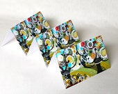 Cards, Blank, Set of 3, Triesta, Trees, Flowers, Birds, Bees, Nature, Red, Black, Green, Aqua, Yellow, White, Fiesta, FREE SHIPPING