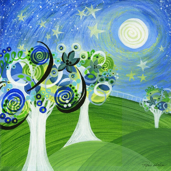 Free Shipping, Art, Canvas, Original Painting, Starry Night, Trees, 50/50, Charity, Cancer, TCAF, SHIPS FREE