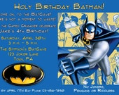 Superhero Birthday Invitation - Batman, Spiderman, Hulk - custom design - you print
