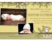 Monkey birth announcement - custom design - you print