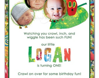 Hungry Little Caterpillar Birthday Invitation - you print - custom design