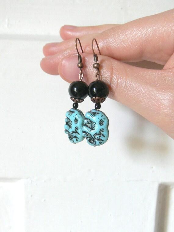 Blue and Black Earrings, Elephant Earrings, Glass Bead Copper Earrings, Navy Blue Earrings, Dangle Earrings, Bridesmaid Gifts Jewelry