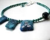 Sterling Silver Turquoise GEMSTONE and FELT Necklace
