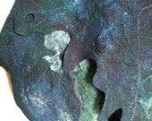 Nuno Felted Shawl - blue green - wool silk and organza
