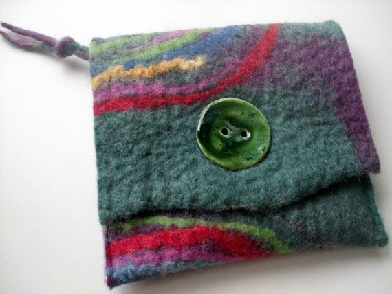 Felted Purse zip closure Hundertwasser inspired spirals duck egg and bilberry heathery colourful