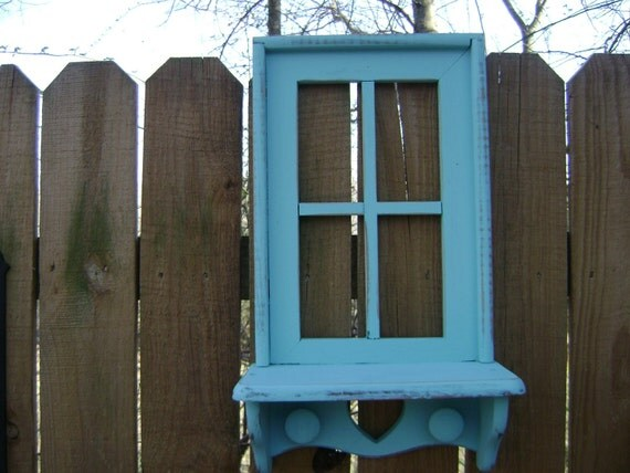 Window/Shelf, Small, w/Pegs, Upcycled, Beach House, Shabby CHic, Turquoise