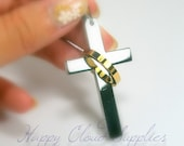 Silver Cross with Gold Ring Stainless Steel Pendant