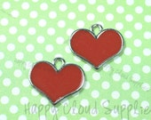 Red Heart Enamel Charms... 6pcs