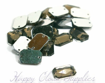 Destash Sale... Warm Greige Emerald-Cut Resin Sew-On Gem with 2 Holes- Package of 50