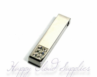 Destash Sale... Modern Sleek Column Stainless Steel Pendant with Clear Rhinestones