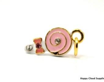 Sweet Pink Swirl Lollipop Enamel Charm with Rhinestones...2pcs