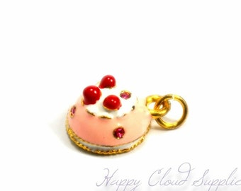 Sweet Strawberry Cake Enamel Charm with Rhinestones - Package of 2