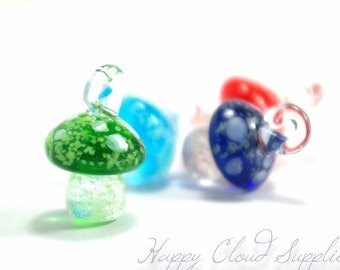 Glow in the Dark Mushroom Lampwork Glass Charms... 2pcs