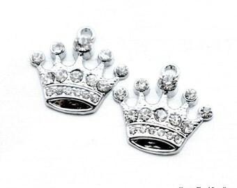 Princess Crown Rhinestone Charm... 2pcs