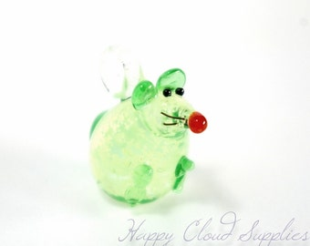 Glow in the Dark Chubby Mouse Lampwork Glass Charms - Package of 2