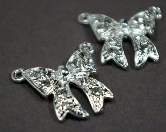Modern Clear Rhinestone and Silver Ribbon Bow Charm Link... 2pcs