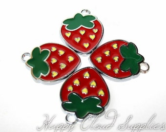Hearts in Strawberry Enamel Charms... 4pcs