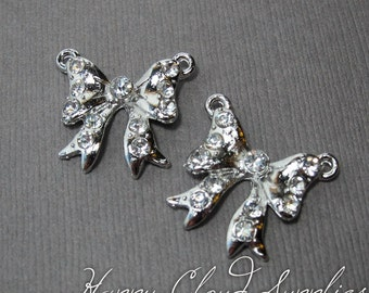 Romantic Clear Rhinestone and Silver Ribbon Bow Charm Link - Package of 2