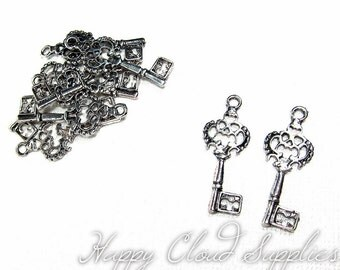 Little Fancy Filigree Antique Silver Key Charms - Package of 10