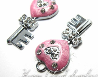 Sweet Pearlized Pink Heart Shaped Key Charms with Rhinestones - Package of 2