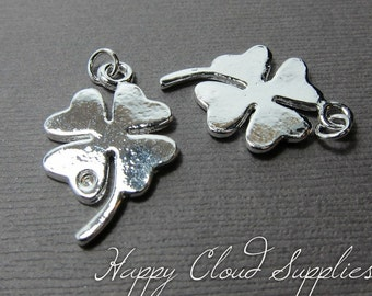 Lucky Silver Clover Charms... 4pcs (Last Order)