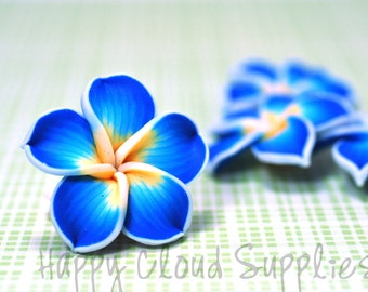Polymer Clay Plumeria Frangipani Flower Beads in Blue, White and Yellow... 4pcs