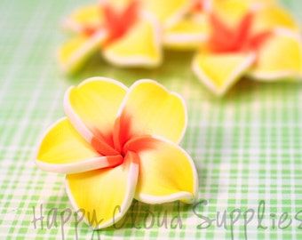Large 4pcs... Yellow, Orange, and White Polymer Clay Plumeria Frangipani Flower Beads