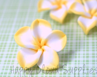 Large Yellow and White Polymer Clay Plumeria Frangipani Flowers... 4pcs