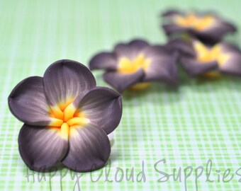 Large Taupe and Yellow Polymer Clay Plumeria Frangipani Flowers... 4pcs
