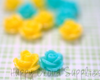 20pcs... Mini Resin Rose Cabochons in Summer Yellow and Blue