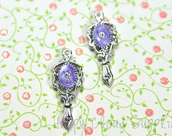 Purple and Silver Handheld Mirror Enamel Charms... 4pcs... Pick your colors