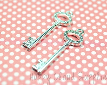 Modern Silver Key Charms with Rhinestones... 2pcs