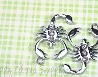 Silver Scorpion Rhinestone Charms... 4pcs