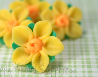 Polymer Clay Daffodils Flowers... 6pcs