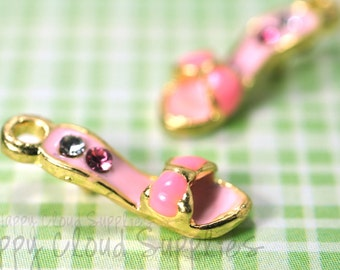 Sweet Pink and Gold Kitten Heels Enamel Charm with Rhinestones... 2pcs