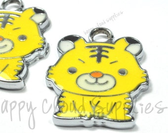 Yellow Tiger Enamel Charms... 4pcs