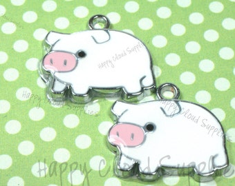 White Pig Enamel Charms... 4pcs
