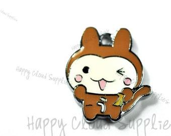 Happy Cartoon Squirrel Enamel Charms... 4pcs